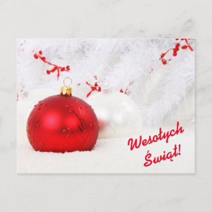 wesoych wit merry christmas in polish holiday postcard