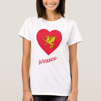 Wessex Flag Heart with Name T-Shirt