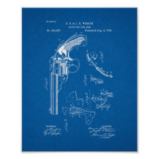 Wesson Revolving Fire Arm Patent - Blueprint Poster