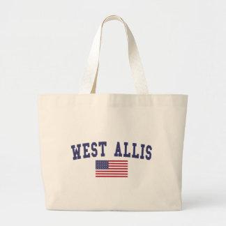 West Allis US Flag Large Tote Bag