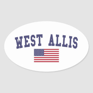 West Allis US Flag Oval Sticker