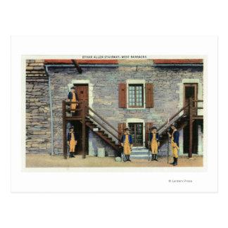 West Barracks, Ethan Allen Stairway Scene Postcard