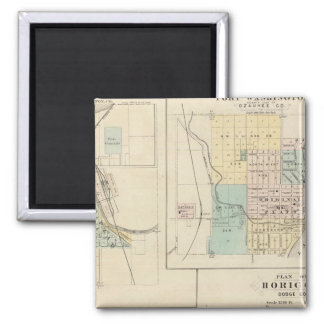 West Bend, Port Washington, Hartford and Horicon 2 Inch Square Magnet