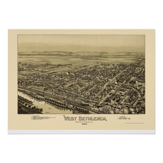 West Bethlehem, PA Panoramic Map - 1894 Poster