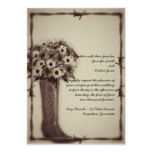 West Boot Daisy Bouquet Vintage Wedding Invitation