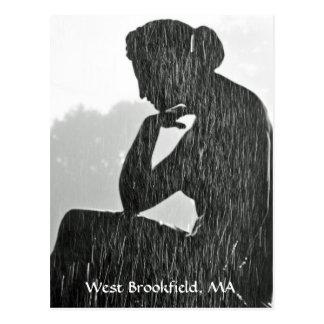 West Brookfield Fountain Postcard BW