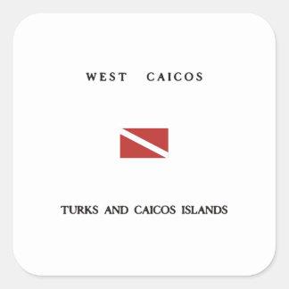 West Caicos Turks and Caicos Islands Scuba Dive Square Sticker
