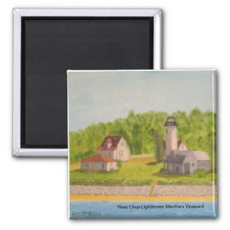 West Chop Lighthouse-Martha's Vineyard 2 Inch Square Magnet