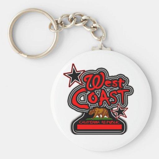 West Coast (Cali Republic)-- T-Shirt Basic Round Button Keychain