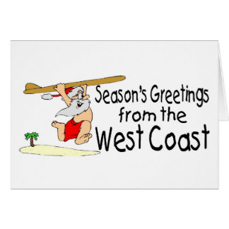 West Coast Greetings Surfing Santa Greeting Card