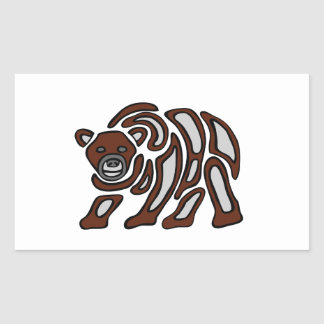 west coast grizzley rectangle stickers
