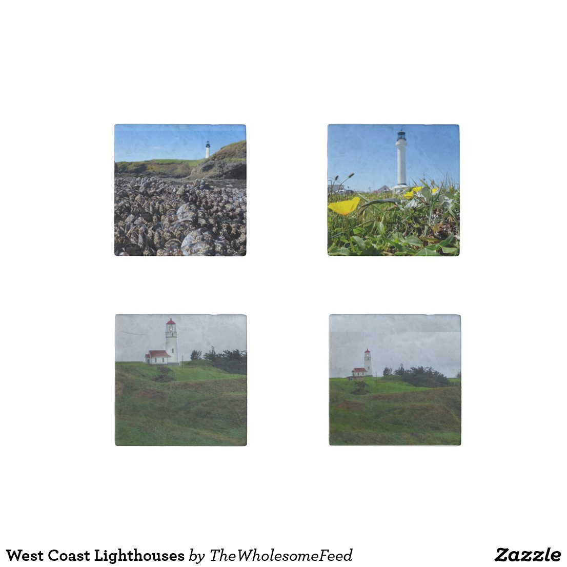 West Coast Lighthouses Stone Magnet