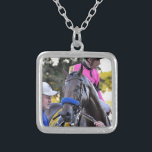 """West Coast M. Smith Silver Plated Necklace<br><div class=""""desc"""">Portrait mode of winning thoroughbred &quot;West Coast&quot; after capturing the million dollar Pennsylvania Derby with jockey Mike Smith in the hot pink silks. Getting a cool sponging,  West Coast is all smiles with his eyes closed as his groom guides him into the winner&#39;s circle. Fleetphoto</div>"""