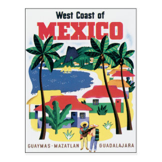 West Coast of Mexico Colorful graphic Postcards