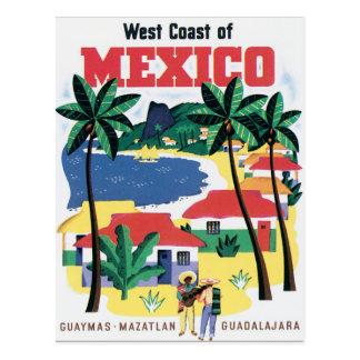 West Coast of Mexico Vintage Travel Poster Artwork Postcard