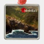 West Coast of Molokai Square Metal Christmas Ornament