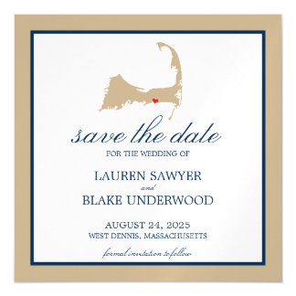 West Dennis Cape Cod Wedding Save the Date Magnetic Card