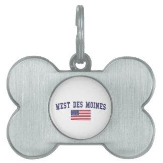 West Des Moines US Flag Pet Name Tag
