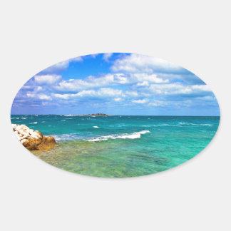 West End Bahamas magníficas Pegatina Ovalada