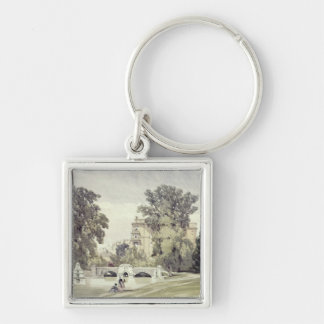West End of the Serpentine, Kensington Gardens Silver-Colored Square Keychain