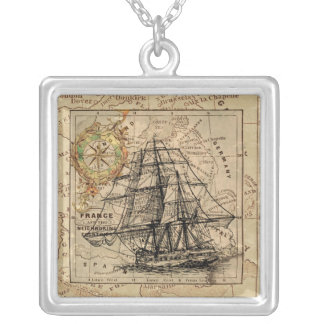 West Europe Vintage Map with Ship & Compass Silver Plated Necklace