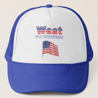 West for Congress Patriotic American Flag Design Trucker Hat