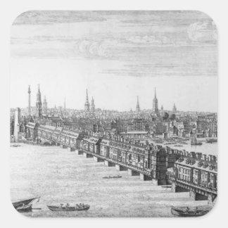 West Front of London Bridge, 1749 Square Sticker