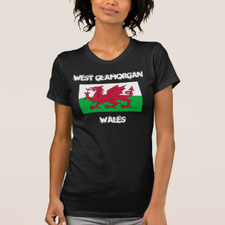 West Glamorgan, Wales with Welsh flag Tee Shirt