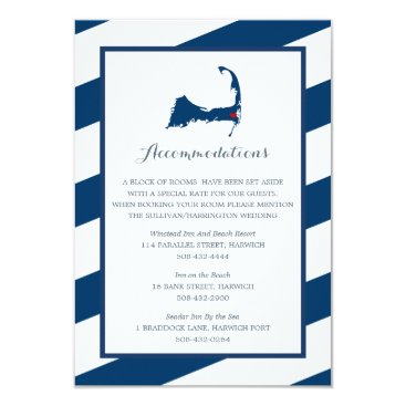 Beach Themed West Harwich Cape Cod Navy Blue | Accommodations Card