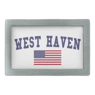 West Haven US Flag Rectangular Belt Buckle