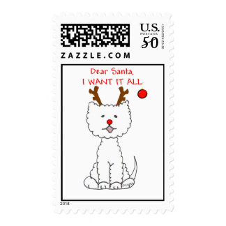 West Highaland White Terrier Dear Santa Postage
