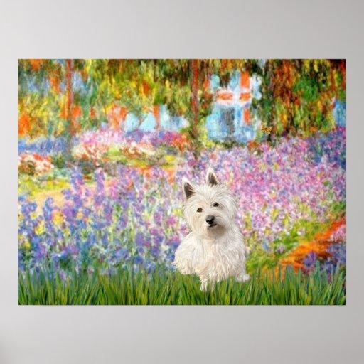 West Highland Terrier 1  -Garden at Giverney Print