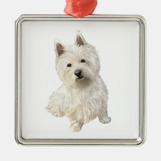 West Highland Terrier (A) Square Metal Christmas Ornament
