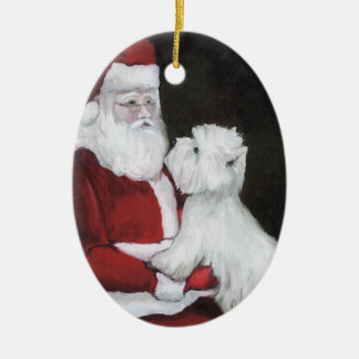 West Highland Terrier and Santa Claus Art Ornament