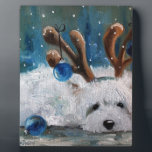 """West Highland Terrier Blue Christmas Westie Dog Plaque<br><div class=""""desc"""">More whimsical art by Mary Sparrow from Hanging the Moon studio in Shelby NC.  Give the westie lover in your life a little Westie Whimsy!</div>"""