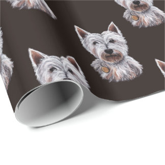 West Highland Terrier Dog Illustration Patterned Wrapping Paper