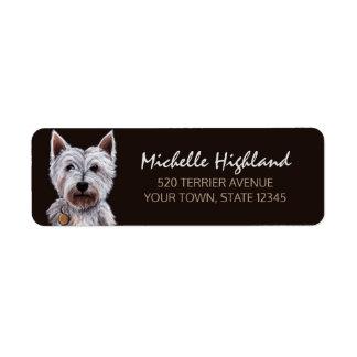 West Highland Terrier Dog Pastel Illustration Label