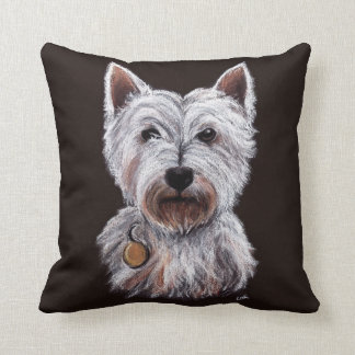 West Highland Terrier Dog Pastel Illustration Throw Pillow