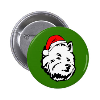 West Highland Terrier Dog with Christmas Santa Pinback Button