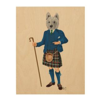 West Highland Terrier in Kilt Wood Wall Art
