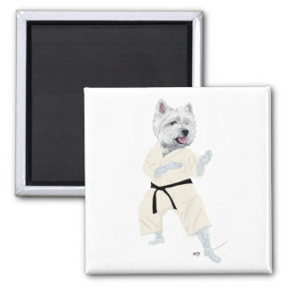 West Highland Terrier KARATE ! 2 Inch Square Magnet