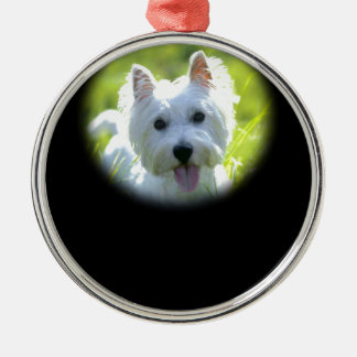 West Highland Terrier Silver-Colored Round Decoration