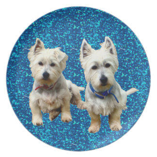 West Highland Terrier Plates. Party Plates