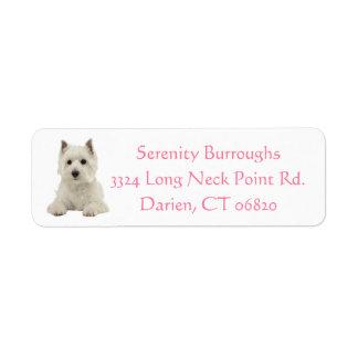 West Highland Terrier Puppy Dog Pink Label