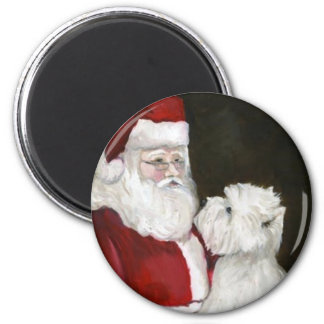 """West Highland Terrier & Santa"" Dog Art Magnet"