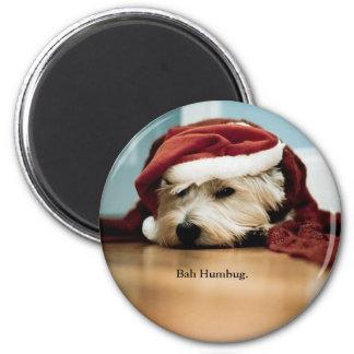 West Highland Terrier Santa Hat Christmas Westie 2 Inch Round Magnet