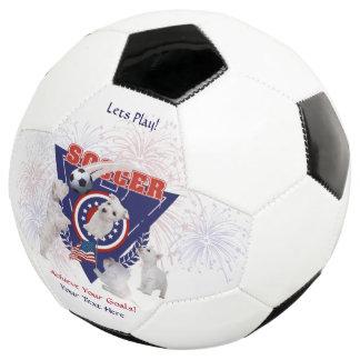 West Highland Terrier USA Flag Design Soccer Ball
