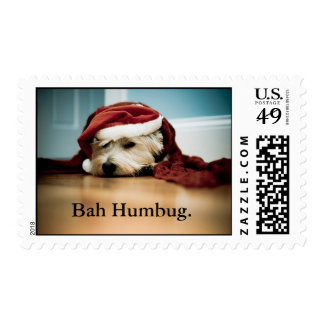 West Highland Terrier Westie Bah Humbug postcard . Postage Stamp