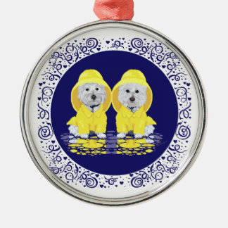 West Highland Terriers April Showers Round Metal Christmas Ornament