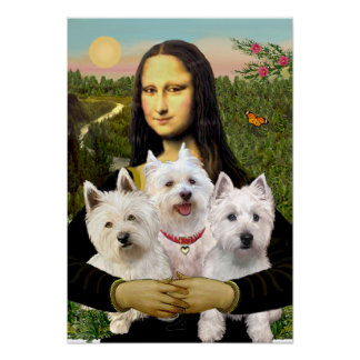 West Highland Terriers (three) - Mona Lisa Poster